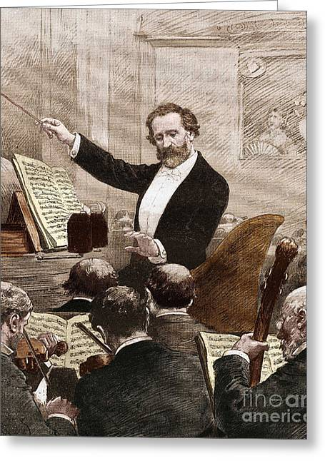 Giuseppe Verdi Leading The Opera Orchestra To The First Representation Of Aida In Paris In 1880 Greeting Card
