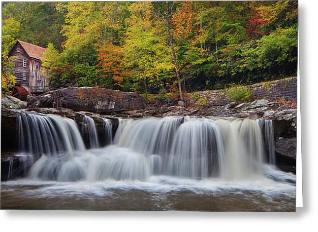 Glade Creek Grist Mill And Cascade Greeting Card
