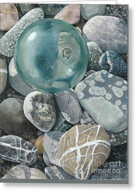 Glass Float And Beach Rocks Greeting Card