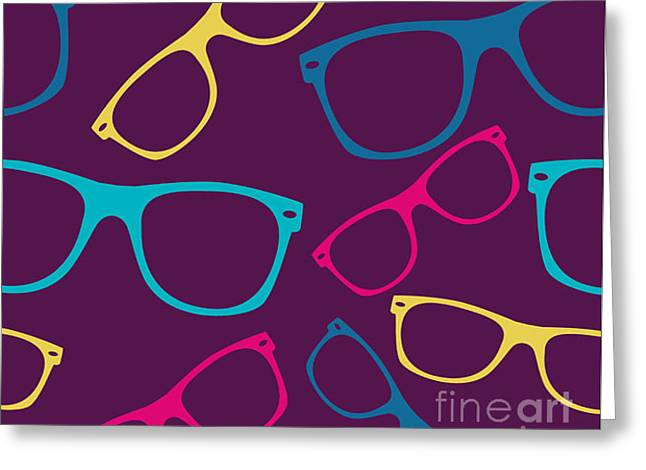 Glasses Seamless Pattern Retro Greeting Card