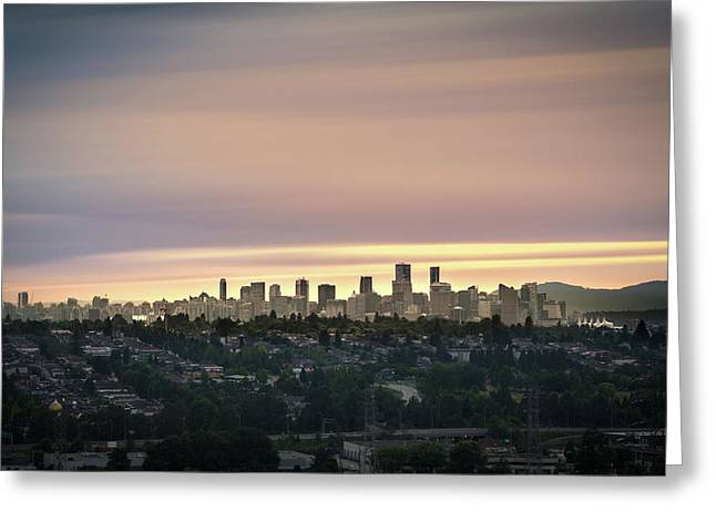 Gloden Sky On Vancouver Greeting Card