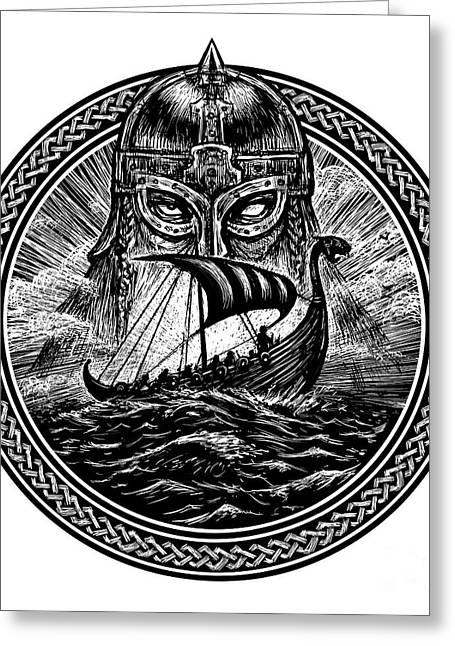 God Odin Storm Sea And Drakkar Greeting Card