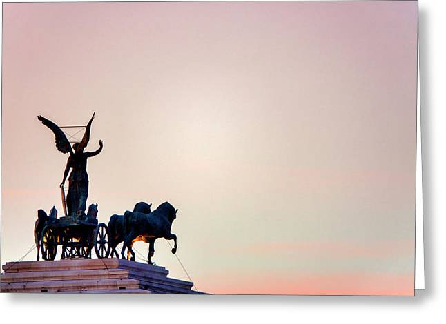 Greeting Card featuring the photograph Goddess Victoria At Sunset by Fabrizio Troiani