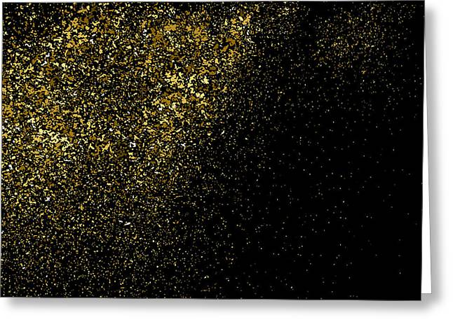 Gold Glitter Texture On A Black Greeting Card