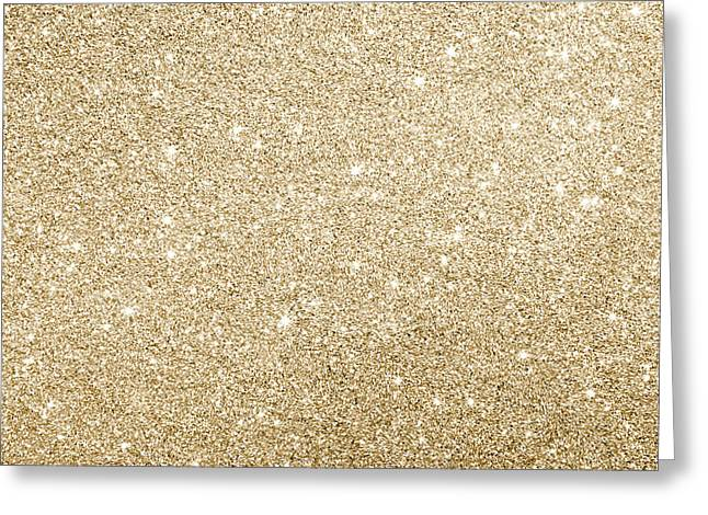 Greeting Card featuring the photograph Gold Glitter by Top Wallpapers