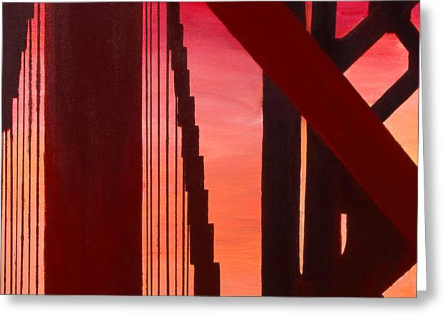 Greeting Card featuring the painting Golden Gate Art Deco Masterpiece by Rene Capone