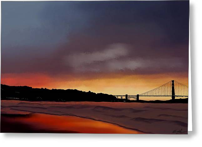 Greeting Card featuring the painting Golden Gate Sunset by Becky Herrera