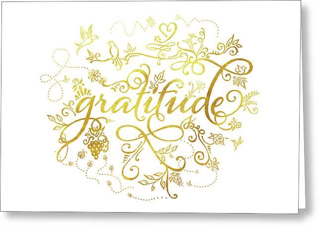 Golden Gratitude Greeting Card
