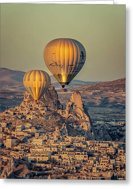 Greeting Card featuring the photograph Golden Hour Balloons by Francisco Gomez