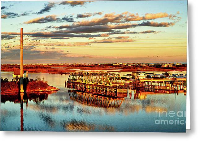 Greeting Card featuring the photograph Golden Hour Bridge by DJA Images