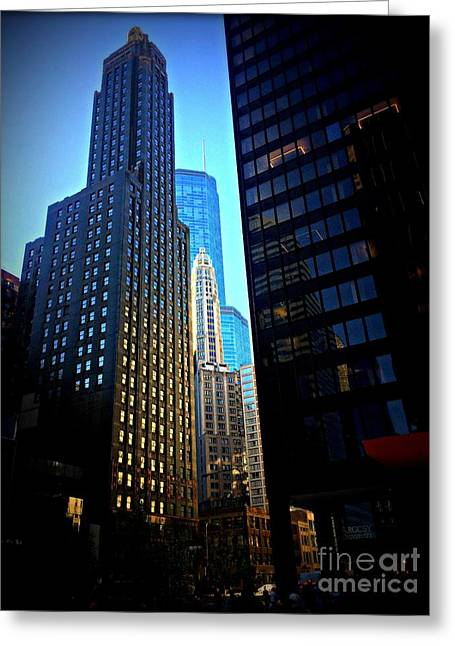 Golden Hour Reflections - City Of Chicago Greeting Card