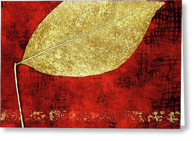 Golden Leaf On Bright Red Paper Square Greeting Card