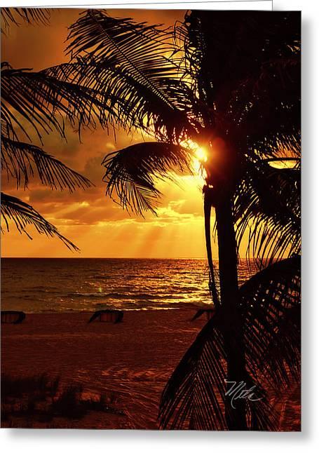 Golden Palm Sunrise Greeting Card