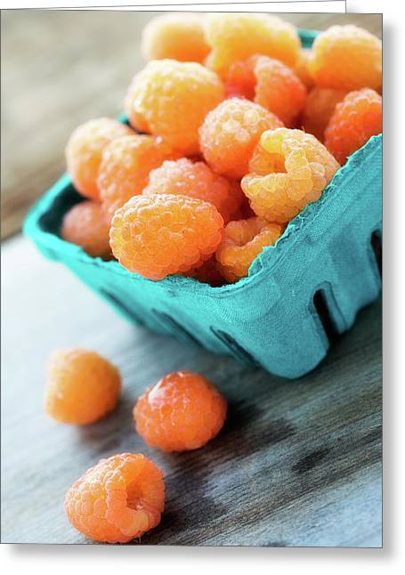 Golden Raspberries Greeting Card