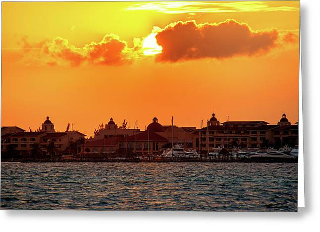 Golden Sky In Cancun Greeting Card