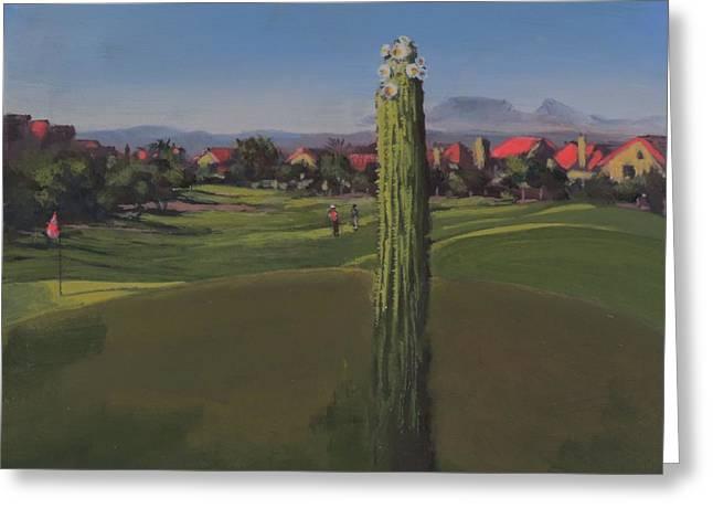 Golf Course Saguaro Greeting Card
