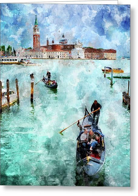 Gondola Rides And San Giorgio Di Maggiore In Venice Greeting Card