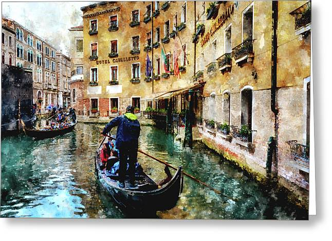 Gondola Traffic Near Piazza San Marco In Venice Greeting Card