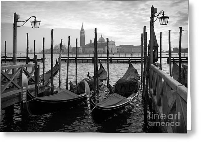 Gondolas In Venice, Black And White Greeting Card