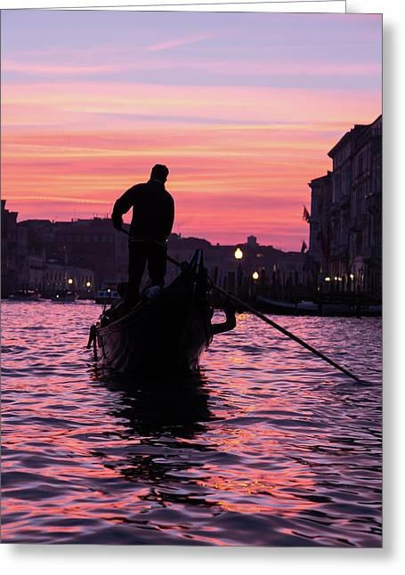 Gondolier At Sunset Greeting Card