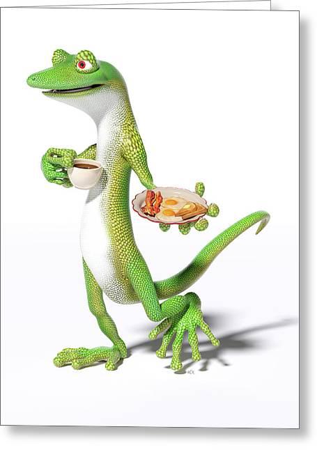 Good Morning Gecko Greeting Card