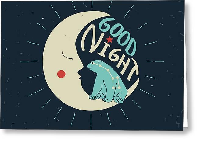 Good Night Polar Bear With Ursa Major Greeting Card