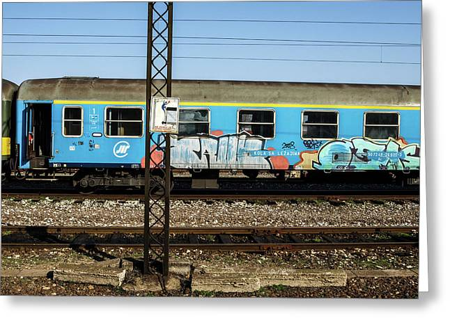 Greeting Card featuring the photograph Graffitied Train by Edward Lee