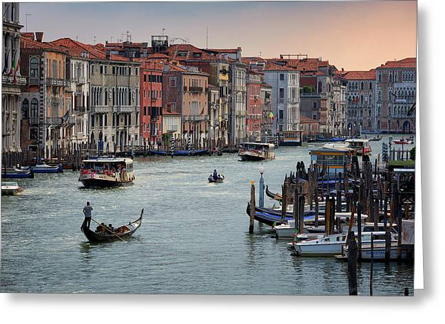Grand Canal Gondolier Venice Italy Sunset Greeting Card