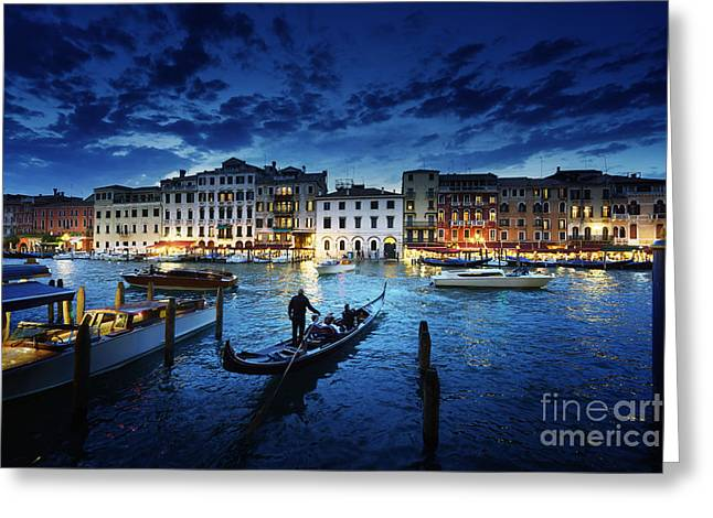 Grand Canal In Sunset Time, Venice Greeting Card
