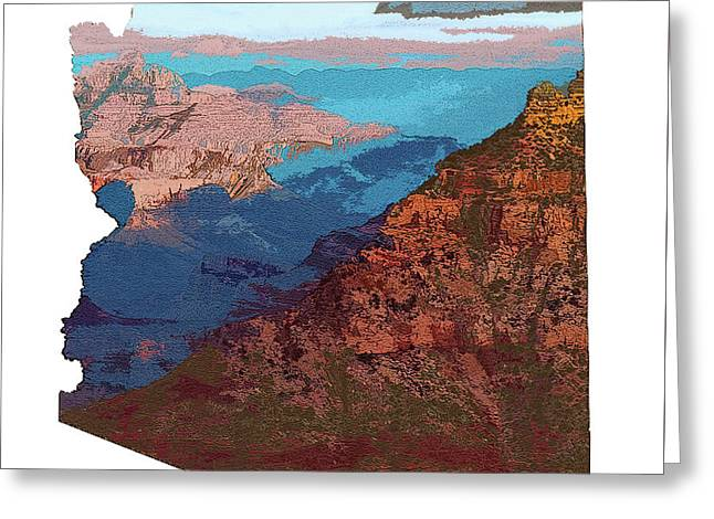 Grand Canyon In The Shape Of Arizona Greeting Card