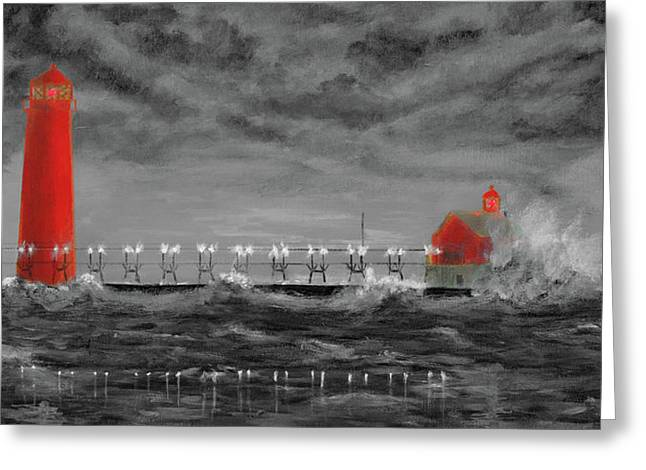 Grand Haven Lighthouse Select Color Greeting Card