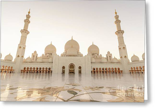 Grand Mosque In Abu Dhabi At Sunset Greeting Card
