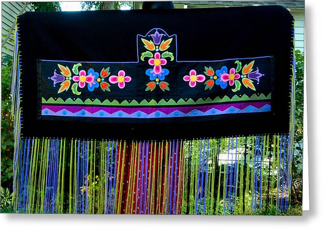 Greeting Card featuring the tapestry - textile Grand Mothers Garden by Chholing Taha