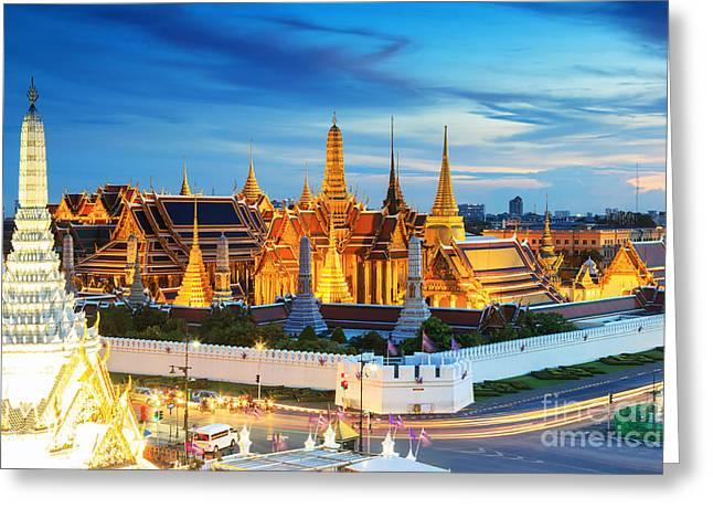 Grand Palace And Wat Phra Keaw At Greeting Card
