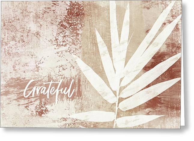 Grateful Autumn Clay Leaf - Art By Linda Woods Greeting Card