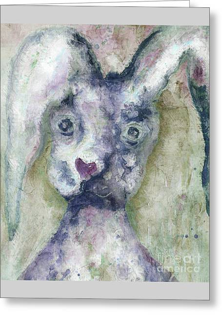 Greeting Card featuring the painting Gray Bunny Love by Claire Bull
