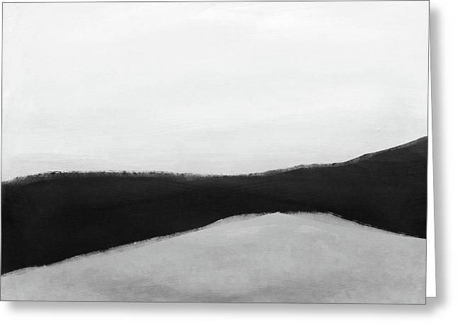 Greeting Card featuring the mixed media Grayscale 3- Abstract Art By Linda Woods by Linda Woods