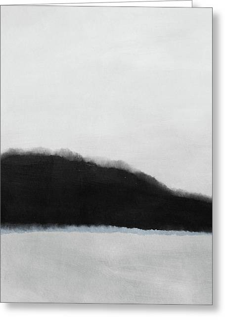 Grayscale 5- Abstract Art By Linda Woods Greeting Card