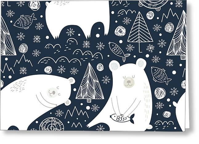 Great Seamless Pattern With Cute Polar Greeting Card