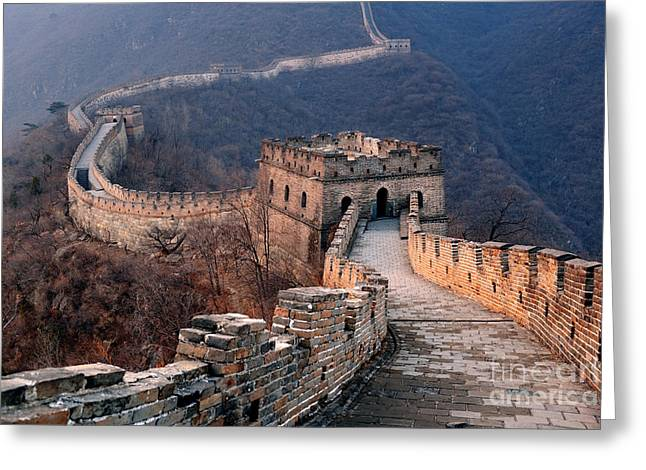 Great Wall Sunset Over Mountains In Greeting Card