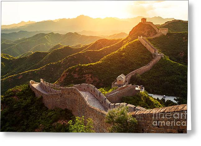 Great Wall Under Sunshine During Sunset Greeting Card