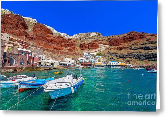 Greece Santorini Island In Cyclades Greeting Card