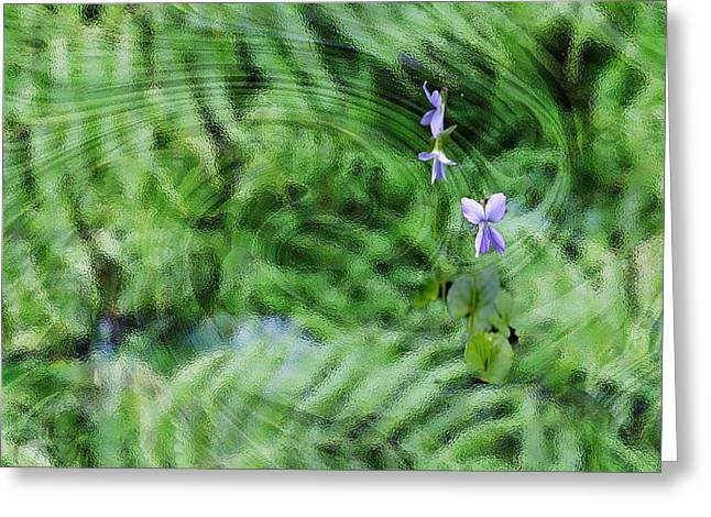 Green Abstract With Violets Greeting Card