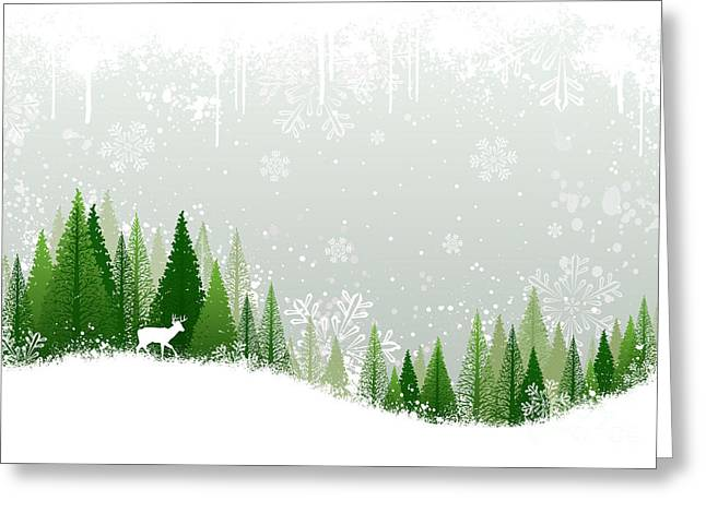 Green And White Winter Forest Grunge Greeting Card