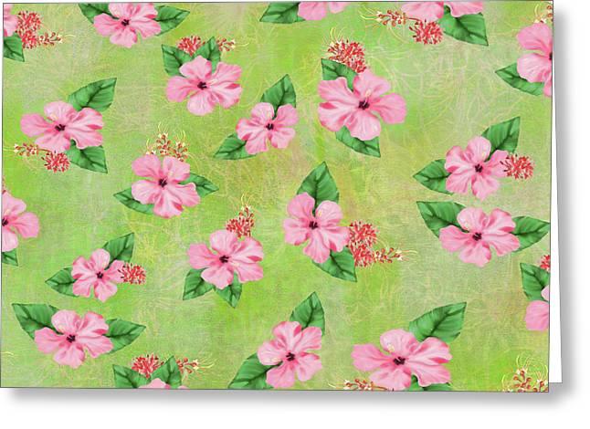 Green Batik Tropical Multi-foral Print Greeting Card