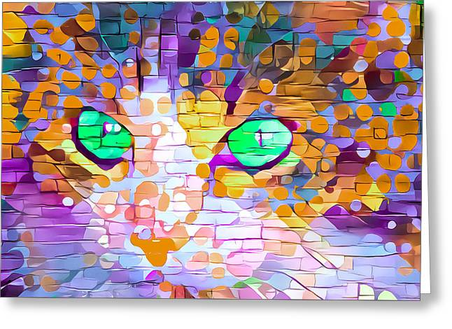 Green Eyed Cat Abstract Greeting Card