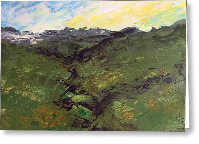 Greeting Card featuring the painting Green Hills by Norma Duch