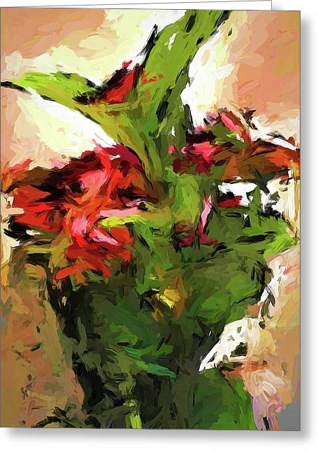 Green Leaves And The Red Flower Greeting Card