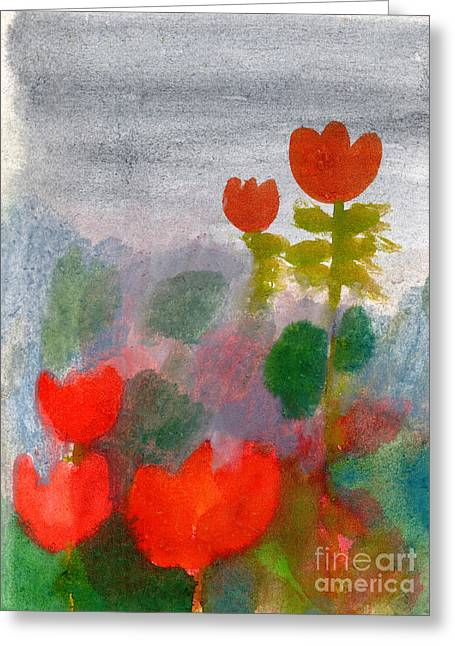 Green Life. Nature. Flowers. Red Greeting Card