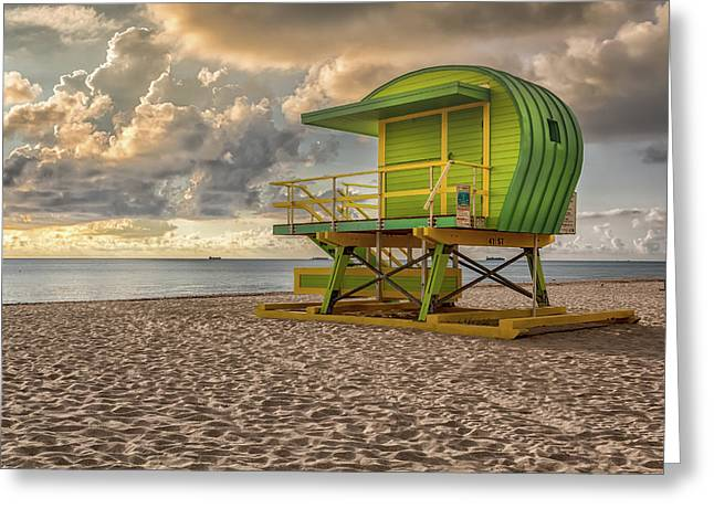 Green Lifeguard Stand Greeting Card